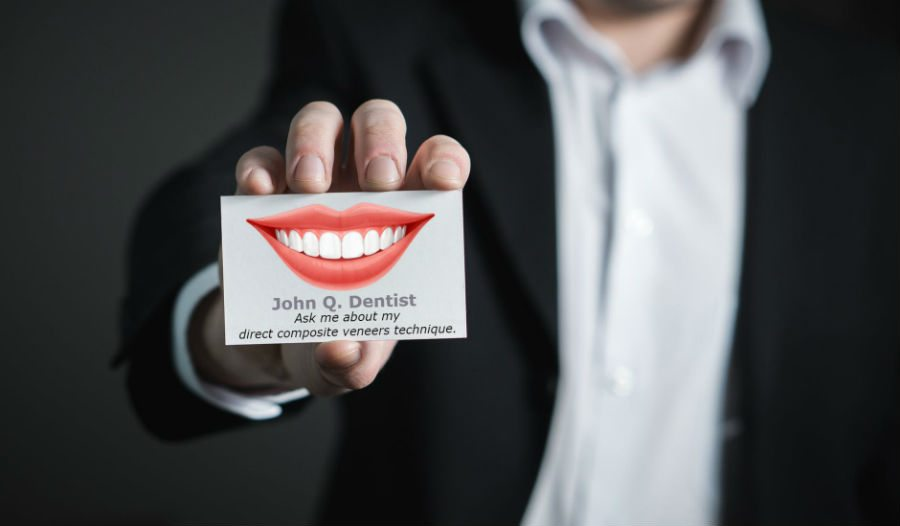 business card that says ask me about my direct composite veneers technique