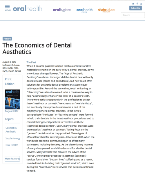 screen shot of dental article